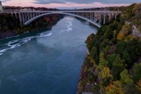 Fall in Niagara Gorge and Rainbow Bridge - Niagara Falls NY